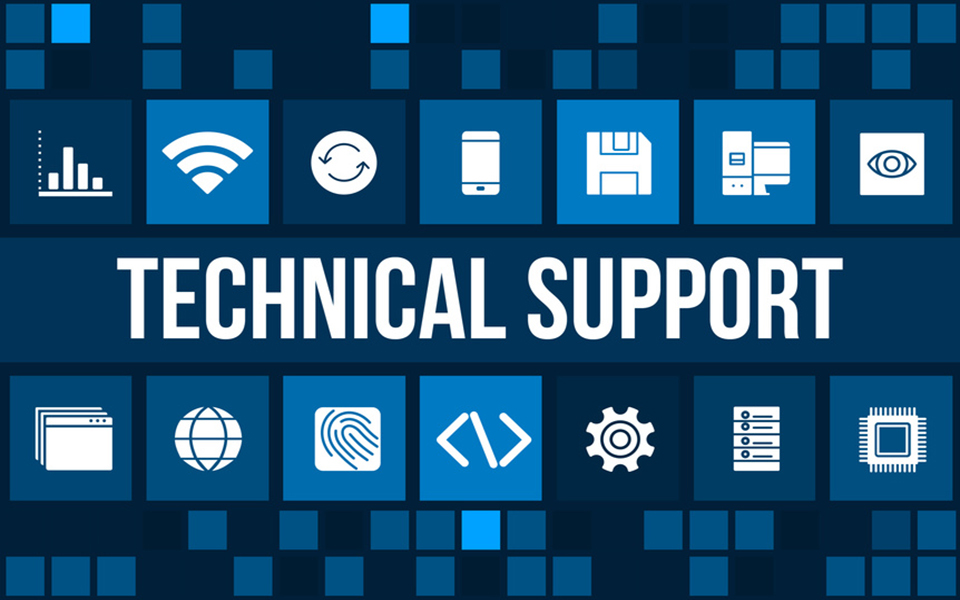 Technical support concept image with technology icons and copyspace
